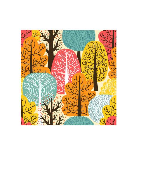 Autumn trees pattern vector