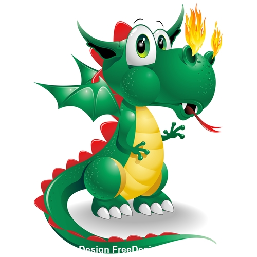 Baby dragon cute cartoon vector