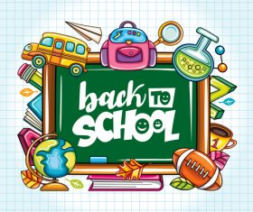 Back to school blackboard illustration vector