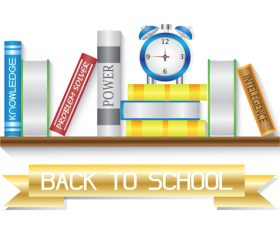 Back to school book shelf vector