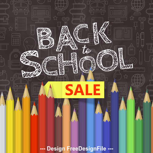 Back to school pencil illustration vector