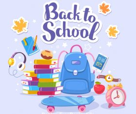 Back to school schoolbag and book vector