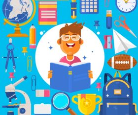 Back to school stationery and student vector