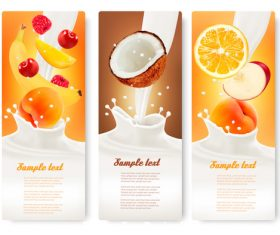 Banana and orange fruit splash in milk vector