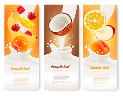 Banana and orange fruit splash in milk vector