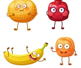 Banana pomegranate etc cartoon emoticon vector