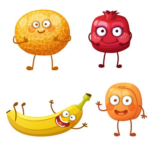 Banana pomegranate etc cartoon emoticon vector