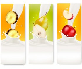 Banners with colorful fruits splash in milk vector