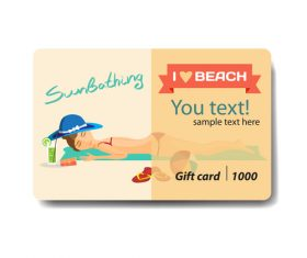 Beach girls background gift card vector