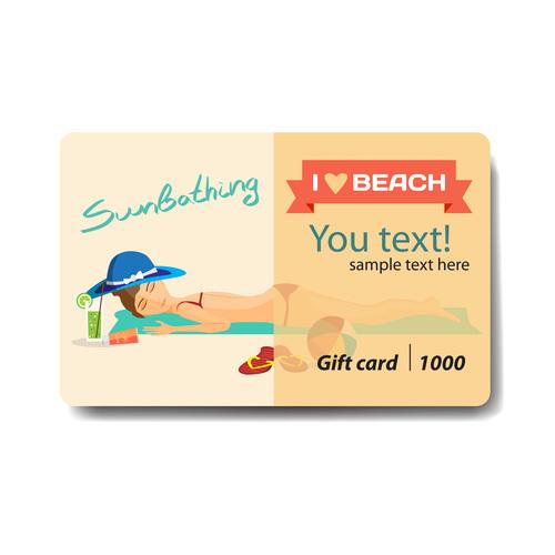 Beach girls background gift card vector