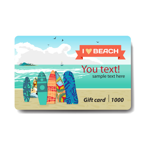 Beach holiday discount gift card vector
