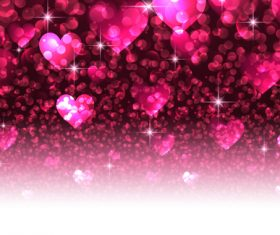 Beautiful valentine shiny hearts vector