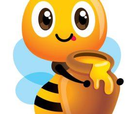 Bee and honey pot cartoon vector