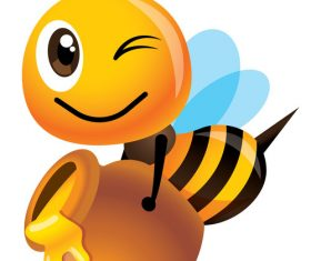 Bee collecting honey cartoon vector