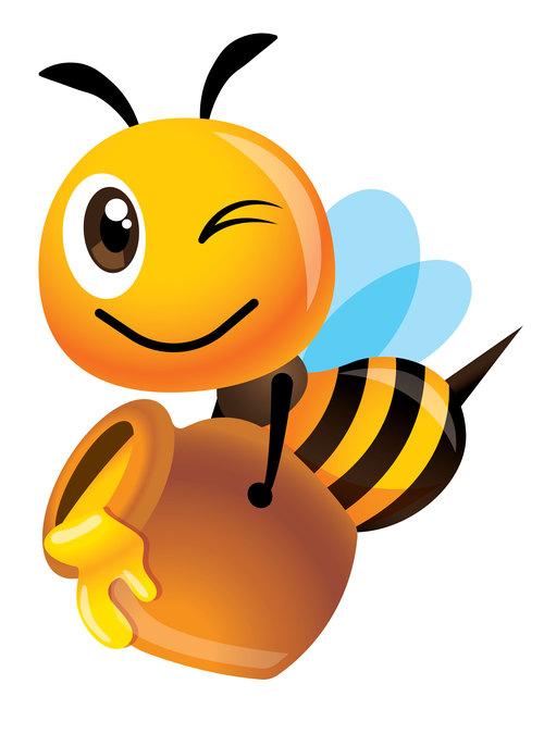 Bee collecting honey cartoon vector