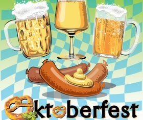 Beer and sausage background vector