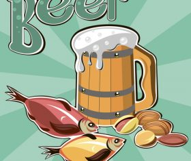 Beer and seafood illustration vector