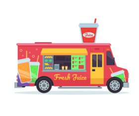 Beverage sale truck illustration vector
