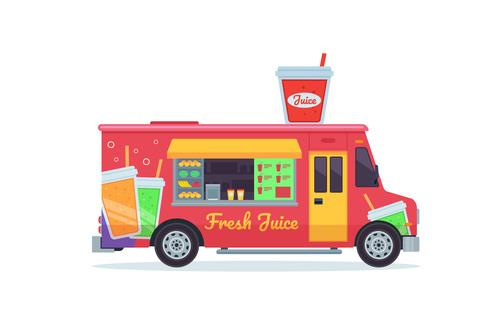 Beverage sale truck illustration vector
