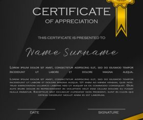 Black background certificate template vector