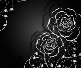 Black background flower silhouette vector