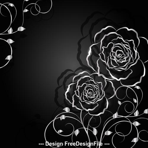 Black background flower silhouette vector