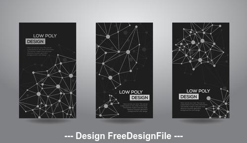 Black background geometric template card vector