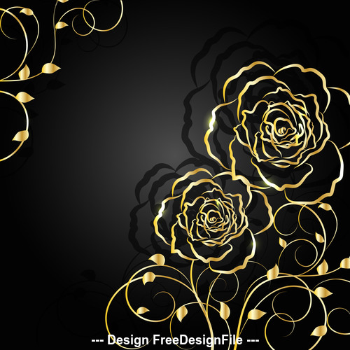 Black background golden flowers vector