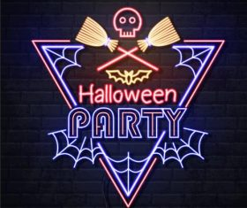 Black background neon illustration halloween party vector