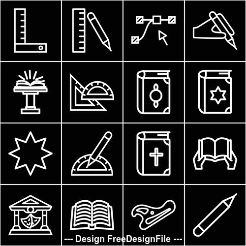 Black education element icon vector