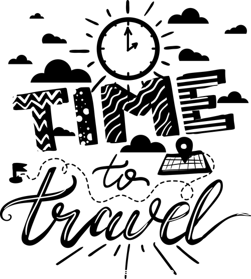 Black time to travel by barsrsind vector