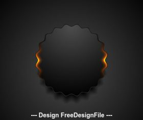 Black wavy circle label with orange glowing light vector