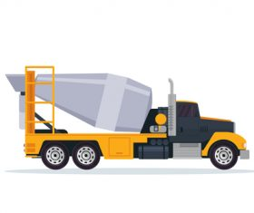 Black yellow construction mixer truck cartoon vector