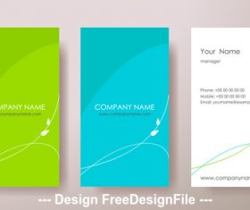 Blue and green and white business card design vector
