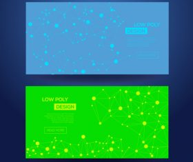 Blue and green low poly geometric template card vector
