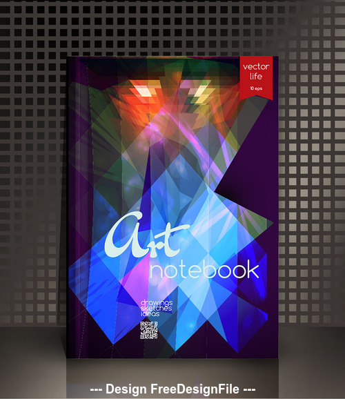 Blue and red art geometric abstract notebook cover vector