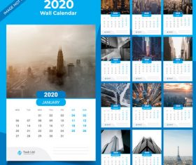 Blue background 2020 new year wall calendar vector