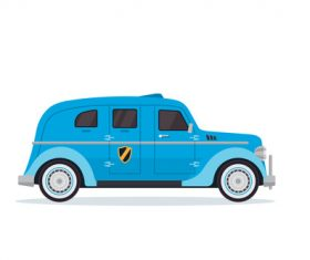Blue cartoon car vector
