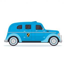 Blue cartoon car vector