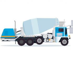 Blue construction mixer truck cartoon vector