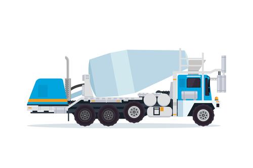 Blue construction mixer truck cartoon vector