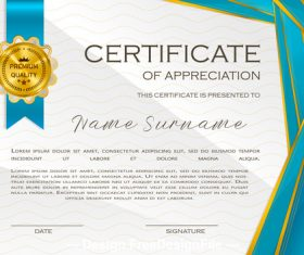 Blue line certificate template vector
