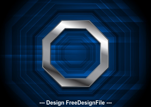 Blue technology background with metallic octagon vector