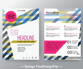 Brochure color striped background flyer design vector