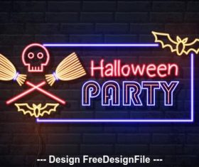 Broom and skull halloween background vector