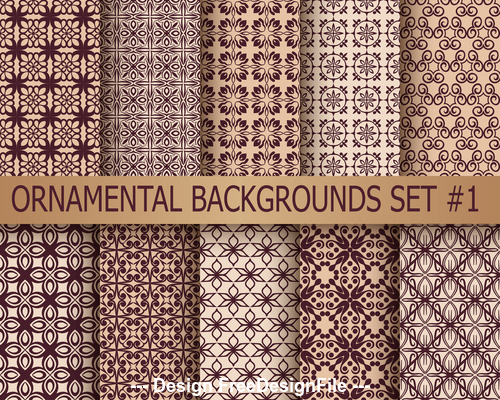 Brown different texture ornamental pattern vector