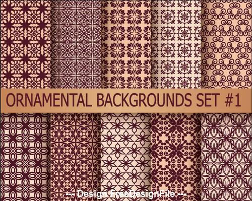 Brown seamless ornamental pattern vector