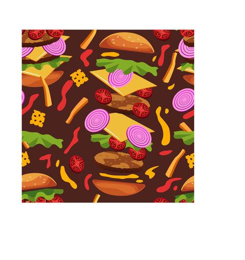 Burger frenzy pattern vector