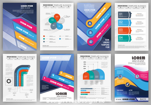 Business brochure template with infographic elements vector