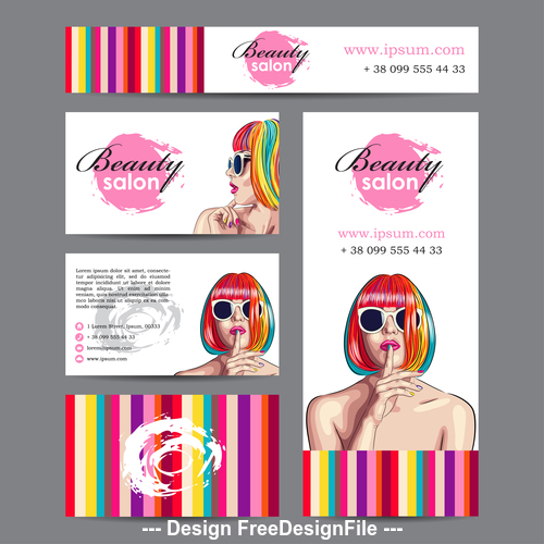 Business card female cover template vector